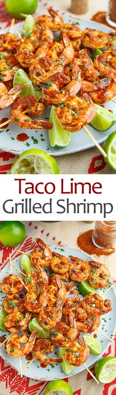 Taco Lime Grilled Shrimp Recipe : Taco and lime seasoned shrimp skewers that are grilled to perfection! Pork Rib Recipes, Grilling Recipes, Fish Recipes, Seafood Recipes, Mexican Food Recipes, Cooking Recipes, Healthy Recipes, Ethnic Recipes, Kabob Recipes