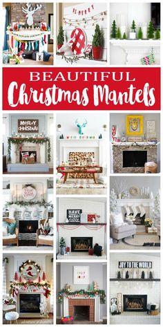 Love this Christmas decor inspiration! Over 20 Beautiful Christmas Mantels