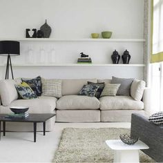 Corner sofa/ black coffee table