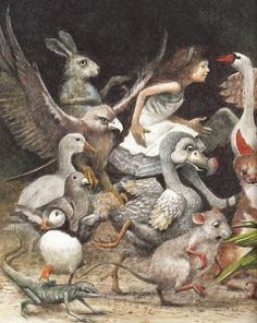 Alice in Wonderland by Robert Ingpen (Dodo bird, drying off after sea of tears)