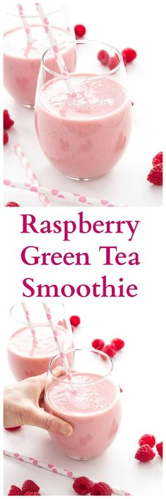 Raspberry Green Tea Smoothie Green tea replaces juice and milk in this healthy and delicious smoothie! Green Tea Smoothie, Tea Smoothies, Yummy Smoothies, Juice Smoothie, Smoothie Drinks, Breakfast Smoothies, Yummy Drinks, Healthy Drinks, Yummy Food