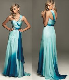 One-Shoulder Tone Color Bridesmaid Ball Prom Gown Formal Evening Dress Custom