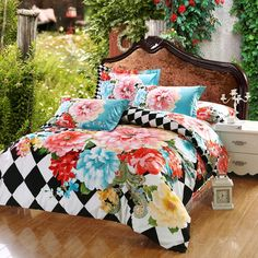 black and white checkered plaid pink red and blue flower print exotic country chic nature themed queen size