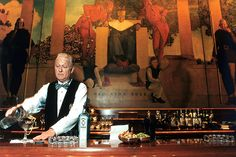 Picture of a bartender at Old King Cole Bar in the St Regis Hotel in NYC