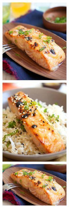 Miso-glazed broiled salmon.