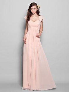 Brautjungfernkleid - Perlen Pink Chiffon - A-Linie - bodenlang - Herz-Ausschnitt Übergröße / Extraklein - EUR €70.55
