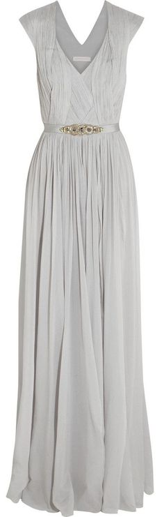 Matthew Williamson Gray Embellished Stretch Silk Georgette Gown.Beautiful.
