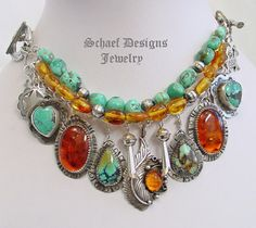 Schaef Designs turquoise, amber, & sterling silver charm bracelet | Fred Harvey Era charms | Schaef Designs artisan handcrafted Southwestern, Native American & Equine Jewelry | Online upscale southwestern equine jewelry boutique gallery | New Mexico