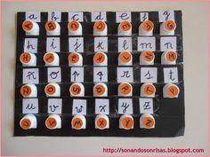 Un abecedario que nos ayudará a trabajar la lecto-escritura.Lo que necesitamos son materiales muy sencillos, tapones de leche con sus rosca...