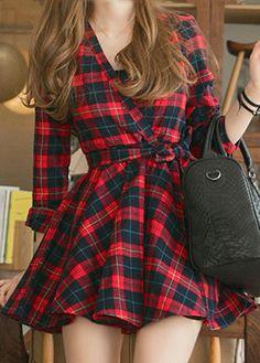 Belted, Long Sleeve Plaid Dress