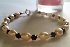 Pearl and Garnet bracelet, Christmas wedding gift, Bridal jewellery, Sterling silver, gift for her, January birthstone, June birthstone, #etsy https://etsy.me/2Ie2Agb