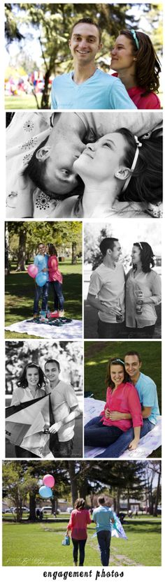 Engagement Photography Couple Poses Balloons Kite Picnic Blue Pink Coral Aqua Teal