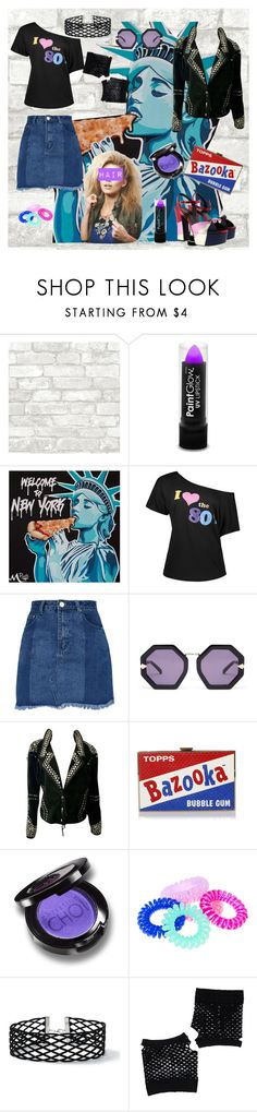 """Denim"" by freefreak ❤ liked on Polyvore featuring PaintGlow, Karen Walker, Anya Hindmarch, Christina Choi Cosmetics, Miss Selfridge, Forever 21, Yves Saint Laurent, denim, city and retro"