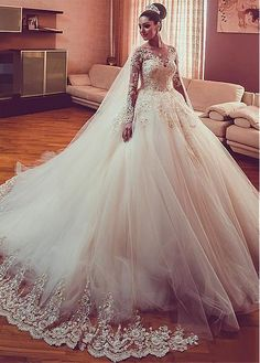 Buy discount Glamorous Tulle Jewel Neckline Ball Gown Wedding Dress With Beaded Lace Appliques at Magbridal.com