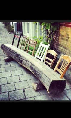 Upcycle old chair backs into a log for a garden bench DIY Garden Yard Art When growing your own lawn Diy Furniture Projects, Woodworking Projects, Porch Furniture, Diy Projects, Wood Furniture, Diy Garden Furniture, Recycled Furniture, Recycled Wood, Recycled Materials