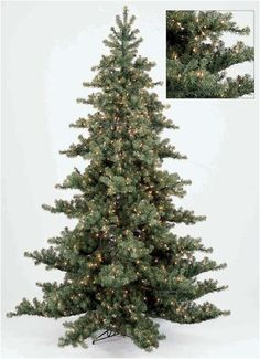 This Nikko Fir artificial Christmas tree comes in several sizes: 3', 5', 7', 9', 10', 12' and 15'. It is available both pre-lit and unlit, this is the pre-lit version. Measurements: 7.5' tall, 5' diameter Specifications: 2,783 tips, 1.125 Lights