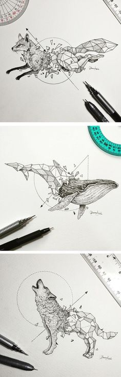 Wild Animal Illustrations Burst Out of Geometric Encasings - - Master doodler Kerby Rosanes (aka Sketchy Stories) is back with a new series of creative sketches. The Manila-based illustrator, who is internationally. Geometric Drawing, Geometric Art, Geometric Animal, Creative Sketches, Art Sketches, Animal Drawings, Cool Drawings, Drawing Animals, Ink Pen Drawings