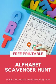 Free recording sheet for ABC game. Set up and indoor or outdoor alphabet scavenger hunt for preschool and kindergarten. Educational Activities For Kids, Alphabet Activities, Literacy Activities, Preschool Activities, Travel Activities, Alphabet Letter Crafts, Alphabet Book, Toddler Learning, Fun Learning