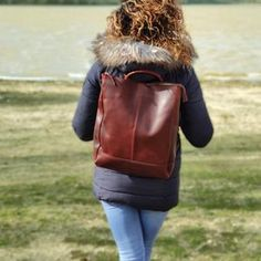 Leather Backpack Women Convertible Backpack Backpack Purse   Etsy Grey Leather, Leather Bag, Estilo Unisex, Leather Laptop Backpack, Laptop Bag, Brown Backpacks, Brown Crossbody Bag, Convertible Backpack, Formal
