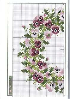 Part 1 of 2 pansy wreath Cross Stitch Needles, Cross Stitch Charts, Cross Stitch Designs, Cross Stitch Patterns, Flower Patterns, Beading Patterns, Embroidery Patterns, Ribbon Embroidery, Cross Stitch Embroidery