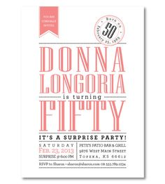 Reserved for Gina - Balance for 85 Surprise Milestone 50th Birthday Invitations - Custom Color