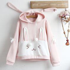 Pink Bubbly Bunny Hoodie Sweatshirt by kawaiimoristore Pastel Fashion, Kawaii Fashion, Cute Fashion, Harajuku Fashion, Kawaii Pullover, Kawaii Sweater, Casual Outfits, Girl Outfits, Fashion Outfits