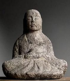Stone Jizo Bosatsu Bodhisattva Buddha -  Holding a Cintamani Stone Jewel - Philosopher's Stone - Granite Edo 18c