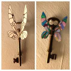 Flying keys. Harry Potter. The wings are traced on vellum with fine black sharpie (color with markers if desired). Cut out. A dab of hot glue to attach to the key.