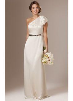 Classic Satin Sheath Sweep Train One Shoulder Sleeveless Formal Wedding Dresses - Wedding Dresses