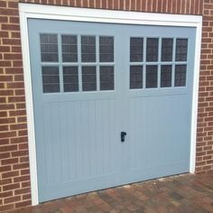 GRP garage door finished in RAL 7001 installed in Didcot Oxfordshire. Carport Garage, Garage House, House Front, Front Porch, Window Glass Replacement, Garage Door Replacement, Garage Door Colors, Wooden Garage Doors, Front Door Makeover
