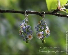 Купить Длинные серьги-подвески с ромашками и незабудками. - голубой, незабудки, серьги, ромашки, серьги с цветами