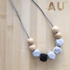 Non-toxic, food grade silicone necklace, safe to wear around baby and while nursing. Modern, on-trend designs you'll be proud to wear plus handmade teething baby essentials