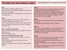 Tip Thursday Veena's Art of Cakes- Again as per your request, today's tip is about the 'Time line for decorating a cake' I do hope you find this useful.