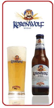 Cerveja Korenwolf, estilo Witbier, produzida por Gulpener Bierbrouwerij, Holanda. 5% ABV de álcool.