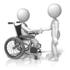 ID# 13452 - Wheelchair Shake Hands - Presentation Clipart