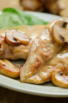Parmesan Chicken with Mushroom Wine Sauce – Weight Watchers (7 Points)