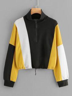 Color Block Zip Up Crop Sweatshirt Women Casual Fall Stand Collar Clothing Ladies Multicolor Sporty Long Sleeve Sweatshirt Multi Sweatshirt Outfit, T Shirt, Suits For Women, Clothes For Women, Mode Simple, Hoodie Sweatshirts, Cool Hoodies, Sporty Style, Casual Fall