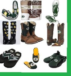 Green Bay Packers tennis shoes, boots, flip flops and slippers