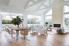 COASTAL LUXE - KWD Modern Coastal, Coastal Living, White Coastal Kitchen, Modern Contemporary, Brick Studio, White Fireplace, Style Classique, Timber Flooring, Coastal Homes