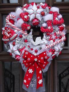 Türkranz,Weihnachten,Weihnachtskranz Rot-Weiß-Silber,Tilda-Art | eBay