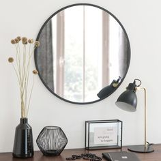 Round Black Metal Mirror on Maisons du Monde. Take your pick from our furniture and accessories and be inspired! Dining Sofa, Dining Room Bench Seating, Black Round Mirror, Round Mirrors, Hall Mirrors, Unique Mirrors, Black Metal, Sun Lounger Cushions, Decoration Entree