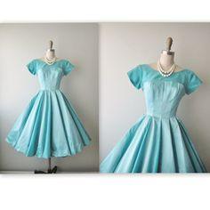ON SALE 50's Dress // Vintage 1950's Blue Satin Taffeta Cocktail Party Wedding Prom Dress XS