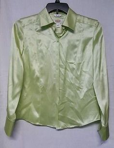 Talbots Ladies Size 8 Green 100% SILK shirt button front long sleeves NEW $88