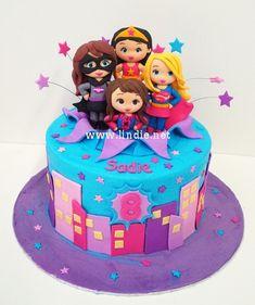Sadie's Superhero girls cake   by Lindie - Sugar art Avengers Birthday Cakes, Superhero Birthday Cake, Birthday Cake Girls, 5th Birthday, Birthday Parties, Dc Superhero Girls Cake, Supergirl Cakes, Cake Designs For Girl, Girly Cakes