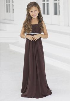 [$76.30] Chiffon Spaghetti Straps Column Twisted Rope Belt Long Junior Bridesmaid Dress