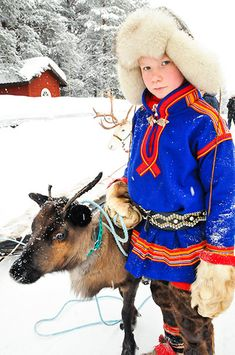 Sami Lapland: Sámi teenager and reindeer calf,  Jokkmokk