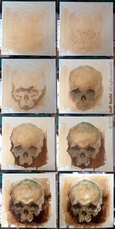Skull study, step by step by JeffStahl.deviantart.com on @DeviantArt