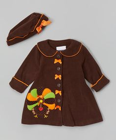 Love this Brown Turkey Hat & Coat - Infant, Toddler & Girls on #zulily! #zulilyfinds