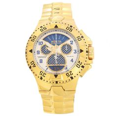 Invicta 17471 Men's Excursion Reserve Blue & White Dial Yellow Gold Steel Chronograph Dive Watch