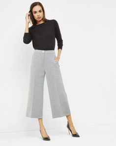 Wide leg cullotes - Grey Marl | Trousers & Shorts | Ted Baker UK